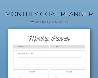 Planner Inserts,monthly goals,different fonts,printable planner, to-do lists, notes, organisational, A4, A5, filofax,inspiring, Goal Planner
