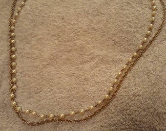 Vintage 2 Strand Faux Pearl And Gold Tone Metal Necklace