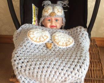 Cozy Owl Car Sear Blanket
