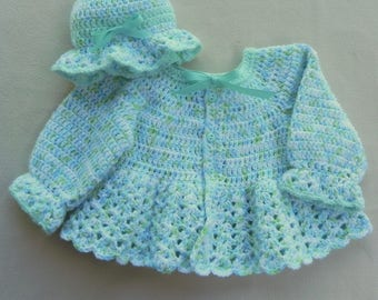 Baby girl sweater and hat set, shower gift, crochet baby clothes, aqua sweater
