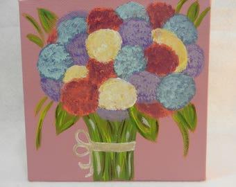6x6 flower (hydrangea) bouquet on canvas