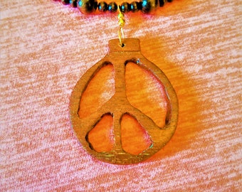 Antique Mahogany Peace Necklace