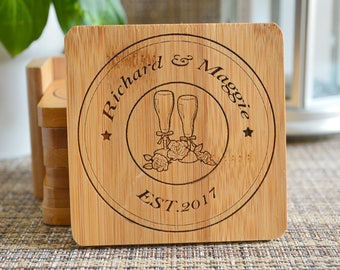 Personalized Coasters, Square 6 Coaster Set Holder, Wood Coaster, Stamp coasters, wedding coasters,Custom Coasters. cheers Coasters 121