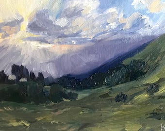 "Landscape Painting- Mini Painting- ""Sunburst""- 5x7 Inch Original Oil Painting"