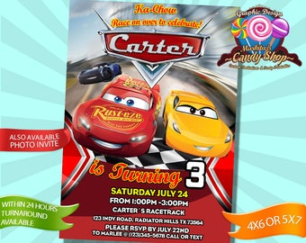 Cars, 3, Invitation, Decorations, digital, Invite, Lightning, McQueen, Cruz Ramirez, Jackson Storm, custom, personalized, birthday, party