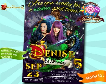 Descendants 2, Invitation, Decorations, digital, Invite, custom, personalized, birthday, party, 2, Disney, Descendants, Descendientes, Card