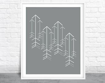 Arrows wall art, Grey Design, Arrow Art
