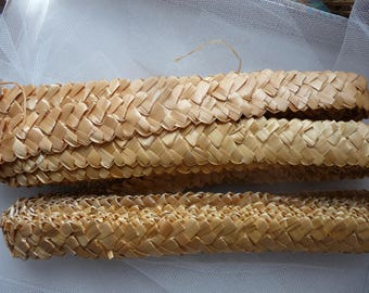 5 m straw braided band natural beige