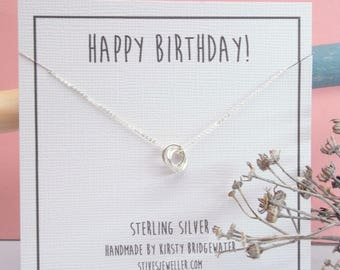 Personalised Eternity Necklace Gift - Sterling Silver Eternity Necklace - Custom Necklace  - Personalised Necklace - Happy Birthday Gift