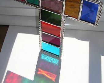 Stained Glass Rainbow Cross, Suncatcher, Handmade in England