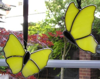 Set of Two Stained Glass Yellow Butterfly, Suncatcher, Handmade in England