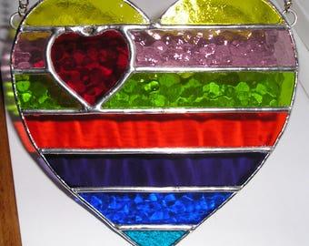 Stained Glass Rainbow Love, Two Hearts Beat As One, Love Heart Inside a Rainbow Heart, Suncatcher, Handmade in England
