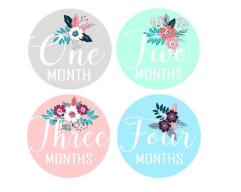 Pastel Flowers Monthly Stickers
