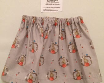 Peter Rabbit skirt, cotton, grey, 2 years