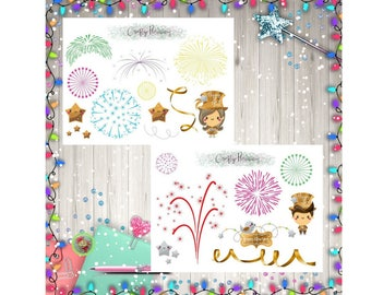 New Year Deco Decoration Set Fireworks Planner Stickers
