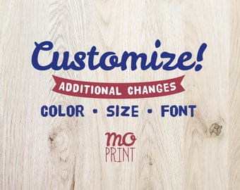 Fee for additional changes such as font, size or color