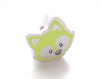 Head of Fox white & lime green wooden bead