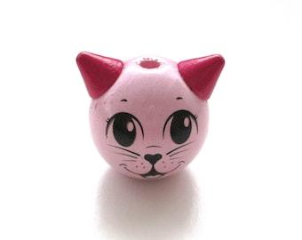 Wooden 3D Rose Tendre Cat Head bead