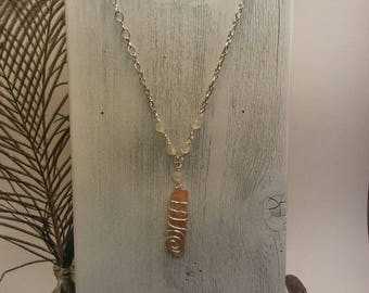 Hand Wrapped Tangerine Quartz Necklace on a Silver Chain, Healing Crystal Jewely, Hand Crafted, Long Necklace, Holistic, Reiki Necklace