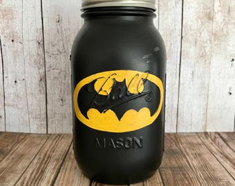 Batman Mason Jar Bank, superhero, red and blue, room decor, birthday gift