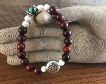 Sandalwood Bracelet, Bohemian Bracelet, green imperial jasper, white howlite, gemstone bracelet, mala bracelet
