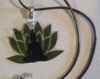 Adjustable lotus and Buddha necklace