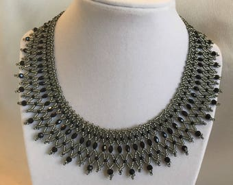 Black and silvery gray beaded necklace