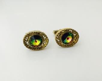 1970s Watermelon Glass Cufflinks, Vintage Cufflinks Gold Metal Cufflinks