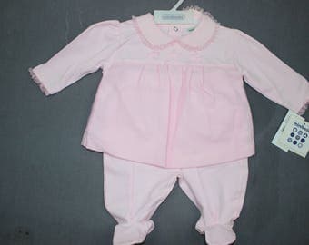 Vintage Baby Girl Winter Outfit Set 3-6 months Pink Sparkly