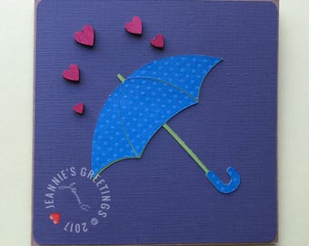 Umbrella Hearts Greeting Card