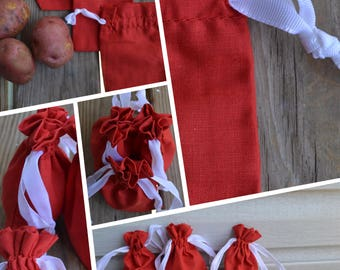 4 x 6 Inches Double Drawstring Red Christmas Muslin Bag. Premium Quality. Best for Gift And Packaging. Great for Wedding