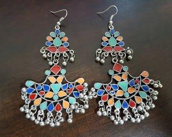 Multi-color (Long) Enamel Silver oxidised long chandelier chandbalis party festive wear