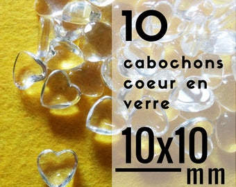 10 cabochons - 10 mm - set of 10 cabochons glass heart shaped heart 1 cm