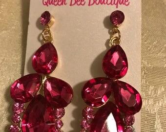 Hot Pink Crystal Dangle Cluster Earrings