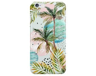 Palmtree Leaves Summer shapes Phone Case Cover for Apple iPhone 5 6 7 6s Plus & Samsung Galaxy S6 S7 S8 Plus