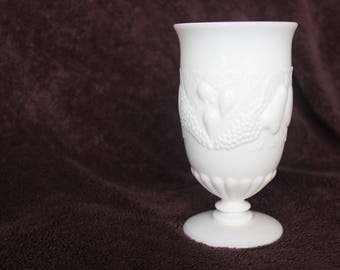 Vintage Della Robbia Milk Glass Ice Tea Goblet by Westmoreland (Set pricing available)