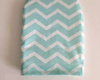 Ready to ship, ostomy bag cover , turquoise chevron, solid white on the back
