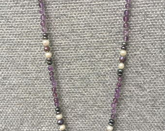 "Hand beaded necklace 19"" Amethyst, Freshwater pearl"