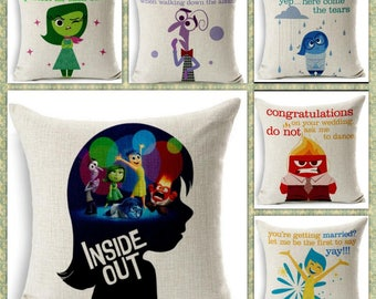 SALE ! set of 6 inside out joy sadness fear anger disgust disney quote  inspired cushion cover 45 by 45 cm  gift