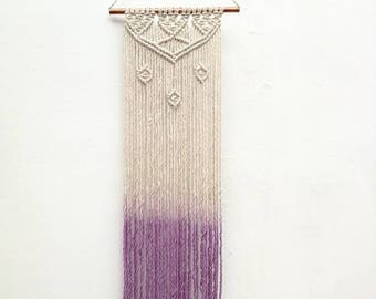 Two-tone decoration Bohemian, hippie macrame wall hanging. Organic cotton and lilac.