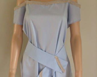 Blouse cotton 38/40/42/44/46 shoulders bare sky blue