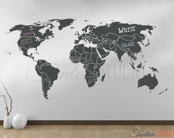 World map decal etsy world map wall decal world map decal with antarctica world map wall art gumiabroncs Gallery