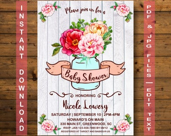 Mason Jar Baby Shower Invitation, Instant Download, Jar Baby Shower Invitation, Rustic Baby Shower, Baby Shower Jar Invitation, Mason Jar
