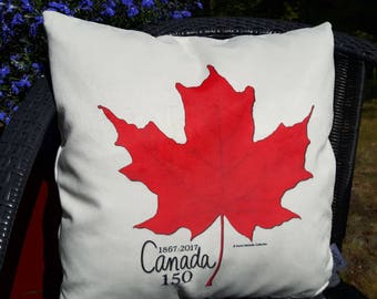 CANADA 150 - Commemorative Maple Leaf Pillow Cover - Original Art Design