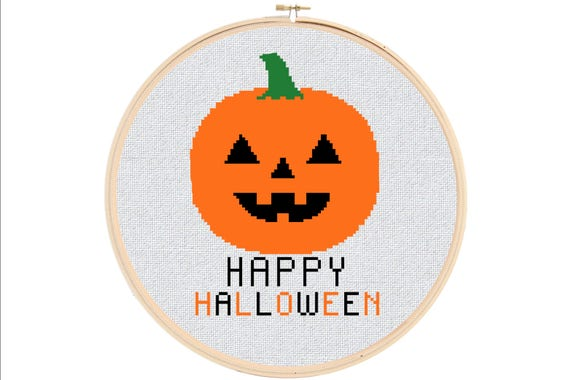 Halloween Cross Stitch Pattern - Happy Halloween Cross Stitch Pattern - Pumpkin Cross Stitch Pattern - Spooky Cross Stitch Pattern