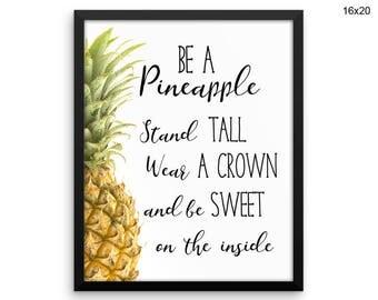 Pineapple Canvas Art Pineapple Printed Pineapple Inspiring Art Pineapple Inspiring Print Pineapple Framed Art Pineapple Tropical Sign