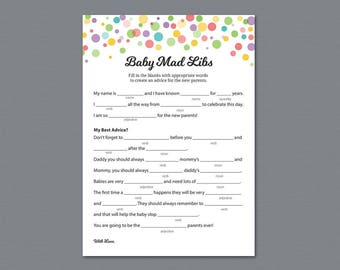 Rainbow Mad Libs Baby Shower Games Printable, Baby Shower Activity, Mad Libs, Color Polka Dots, Advice for Mommy, Instant Download, B010