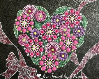 Heart,heart art,mother's day flowers,mother's day  gift,dot art,dot mandala,mandala flower,flower,flower art,national style interior,canvas