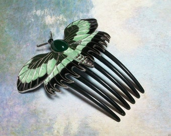 Titanic Rose Butterfly Enamel Hair comb