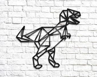 Geometric T-Rex Metal Wall Art